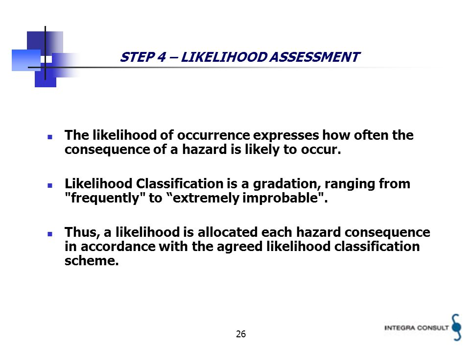 26 STEP 4 – LIKELIHOOD ASSESSMENT The likelihood of occurrence expresses how often the consequence of a hazard is likely to occur. Likelihood Classifi