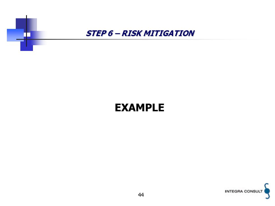 44 STEP 6 – RISK MITIGATION EXAMPLE