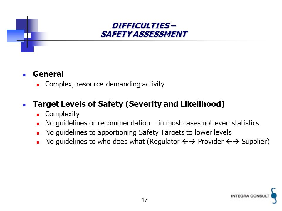 47 DIFFICULTIES – SAFETY ASSESSMENT General Complex, resource-demanding activity Target Levels of Safety (Severity and Likelihood) Complexity No guide