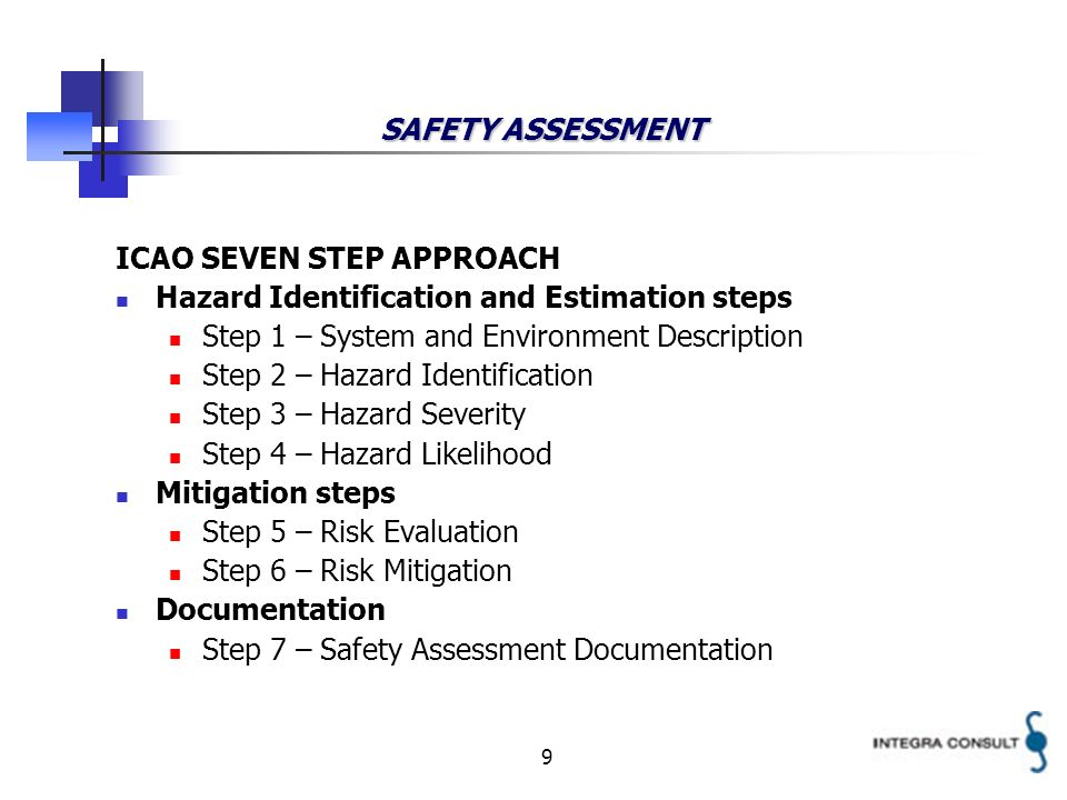 9 SAFETY ASSESSMENT ICAO SEVEN STEP APPROACH Hazard Identification and Estimation steps Step 1 – System and Environment Description Step 2 – Hazard Id