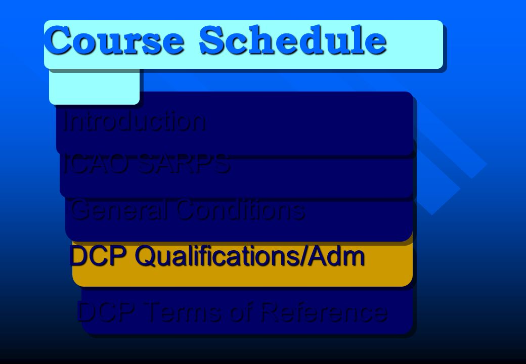 Course Schedule Introduction ICAO SARPS General Conditions General Conditions DCP Qualifications/Adm DCP Qualifications/Adm DCP Terms of Reference DCP