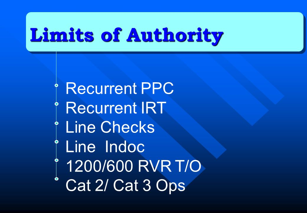 Limits of Authority Recurrent PPC Recurrent IRT Line Checks Line Indoc 1200/600 RVR T/O Cat 2/ Cat 3 Ops