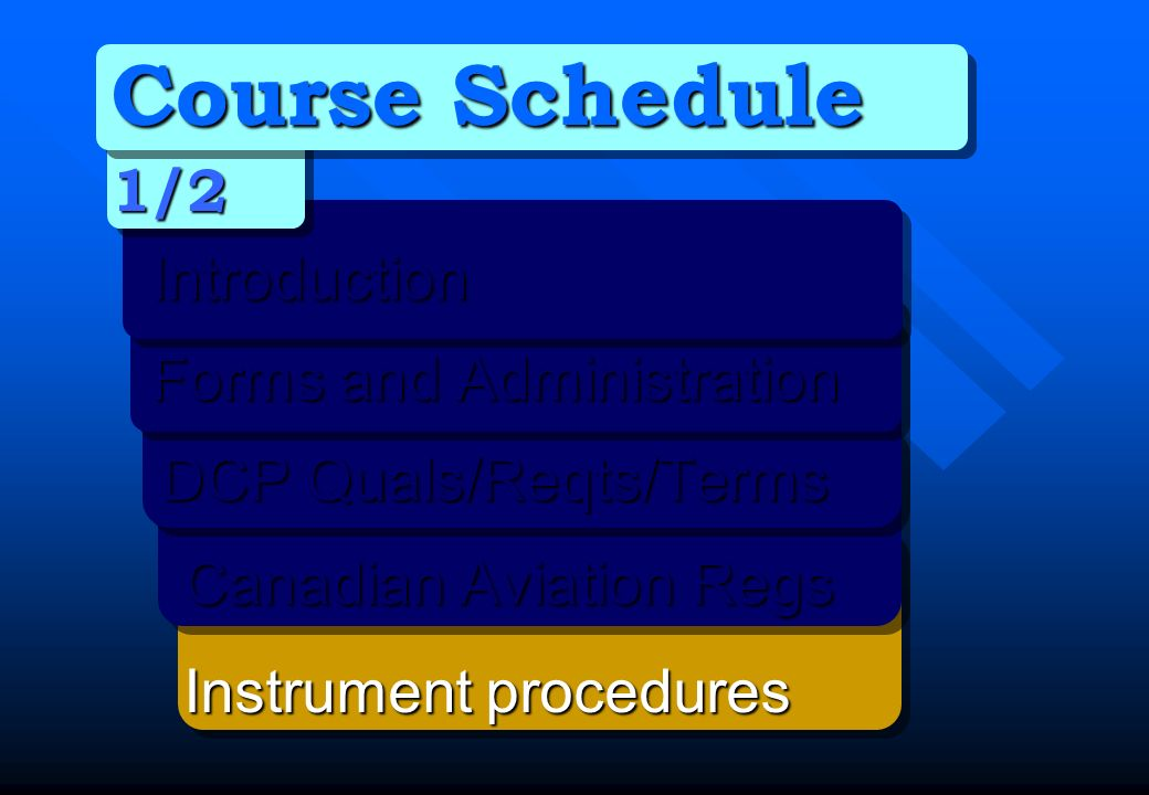 Course Schedule 1/2Introduction Forms and Administration Forms and Administration DCP Quals/Reqts/Terms DCP Quals/Reqts/Terms Canadian Aviation Regs C