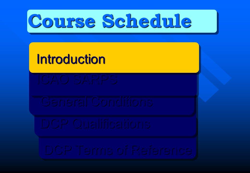 Course Schedule Introduction ICAO SARPS General Conditions General Conditions DCP Qualifications DCP Qualifications DCP Terms of Reference DCP Terms o