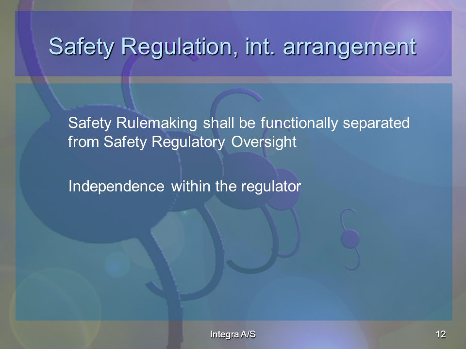 Integra A/S12 Safety Regulation, int.