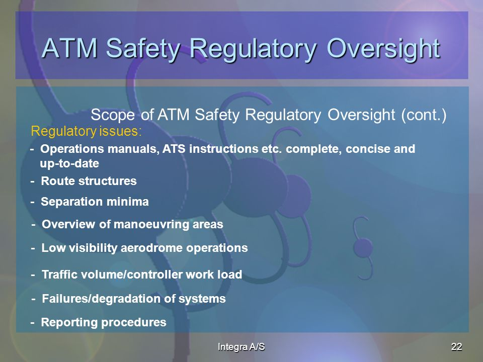 Integra A/S22 ATM Safety Regulatory Oversight Scope of ATM Safety Regulatory Oversight (cont.) Regulatory issues: - Operations manuals, ATS instructions etc.