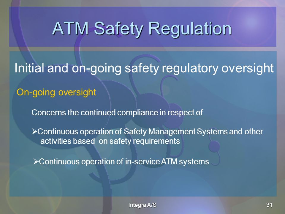 Integra A/S31 ATM Safety Regulation Initial and on-going safety regulatory oversight Concerns the continued compliance in respect of Continuous operation of Safety Management Systems and other activities based on safety requirements On-going oversight Continuous operation of in-service ATM systems