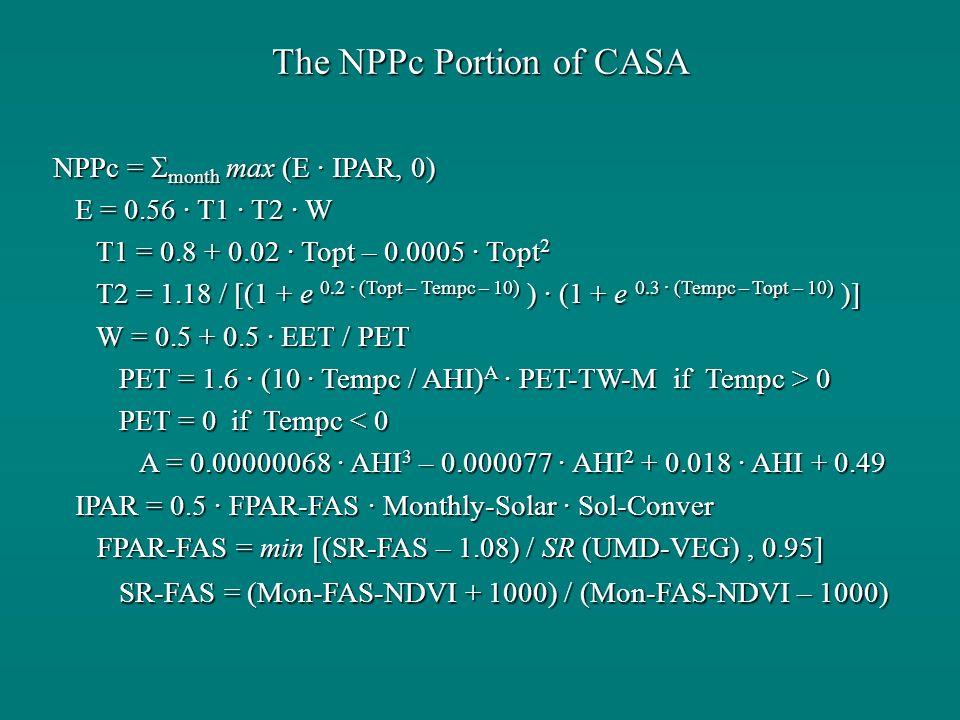 The NPPc Portion of CASA NPPc = month max (E · IPAR, 0) E = 0.56 · T1 · T2 · W E = 0.56 · T1 · T2 · W T1 = 0.8 + 0.02 · Topt – 0.0005 · Topt 2 T1 = 0.