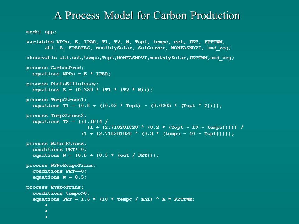 A Process Model for Carbon Production model npp; variables NPPc, E, IPAR, T1, T2, W, Topt, tempc, eet, PET, PETTWM, ahi, A, FPARFAS, monthlySolar, SolConver, MONFASNDVI, umd_veg; observable ahi,eet,tempc,Topt,MONFASNDVI,monthlySolar,PETTWM,umd_veg; process CarbonProd; equations NPPc = E * IPAR; process PhotoEfficiency; equations E = (0.389 * (T1 * (T2 * W))); process TempStress1; equations T1 = (0.8 + ((0.02 * Topt) - (0.0005 * (Topt ^ 2)))); process TempStress2; equations T2 = ((1.1814 / (1 + (2.718281828 ^ (0.2 * (Topt - 10 - tempc))))) / (1 + (2.718281828 ^ (0.3 * (tempc - 10 - Topt))))); process WaterStress; conditions PET!=0; equations W = (0.5 + (0.5 * (eet / PET))); process WSNoEvapoTrans; conditions PET==0; equations W = 0.5; process EvapoTrans; conditions tempc>0; equations PET = 1.6 * (10 * tempc / ahi) ^ A * PETTWM;