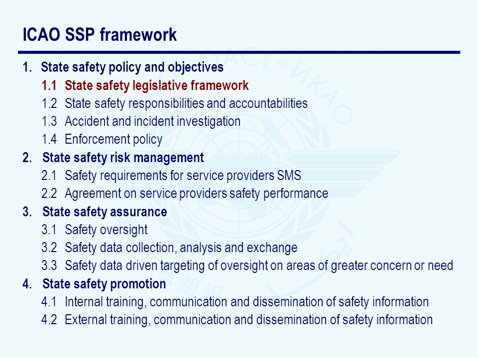 1.State safety policy and objectives 1.1 State safety legislative framework 1.2 State safety responsibilities and accountabilities 1.3Accident and inc