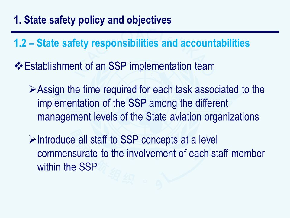 1.2 – State safety responsibilities and accountabilities Establishment of an SSP implementation team Assign the time required for each task associated