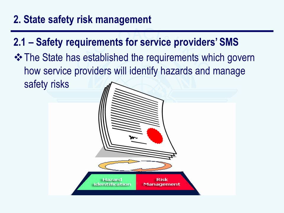 2.1 – Safety requirements for service providers SMS The State has established the requirements which govern how service providers will identify hazard