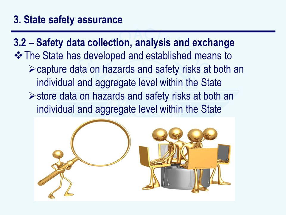 3.2 – Safety data collection, analysis and exchange The State has developed and established means to capture data on hazards and safety risks at both