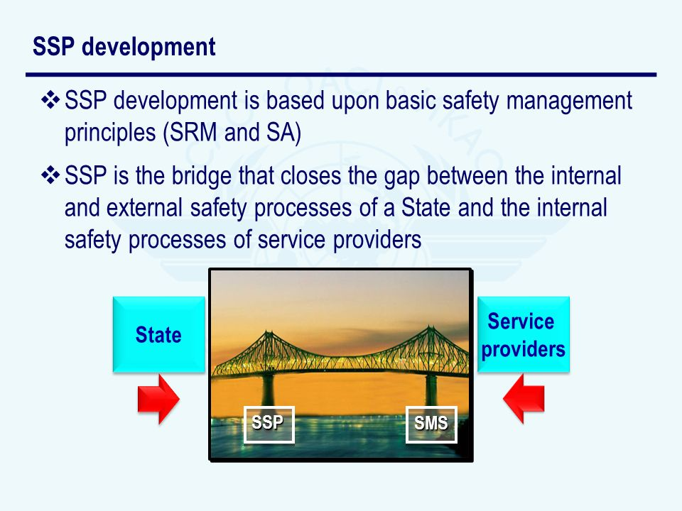 SSP development is based upon basic safety management principles (SRM and SA) SSP is the bridge that closes the gap between the internal and external