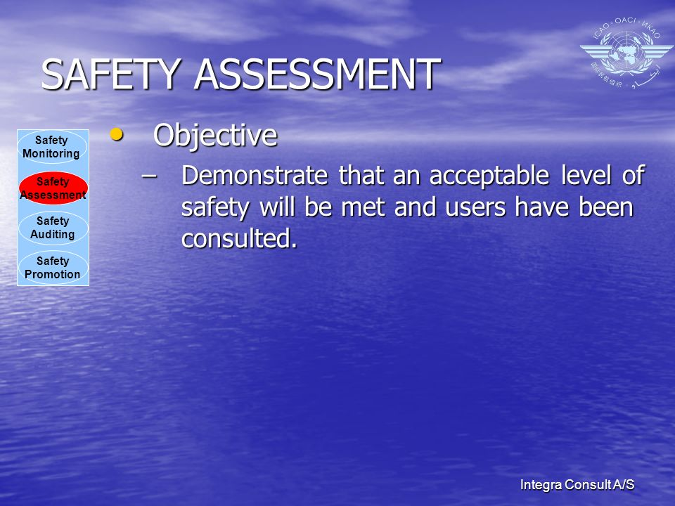 Integra Consult A/S SAFETY ASSESSMENT Objective Objective –Demonstrate that an acceptable level of safety will be met and users have been consulted.