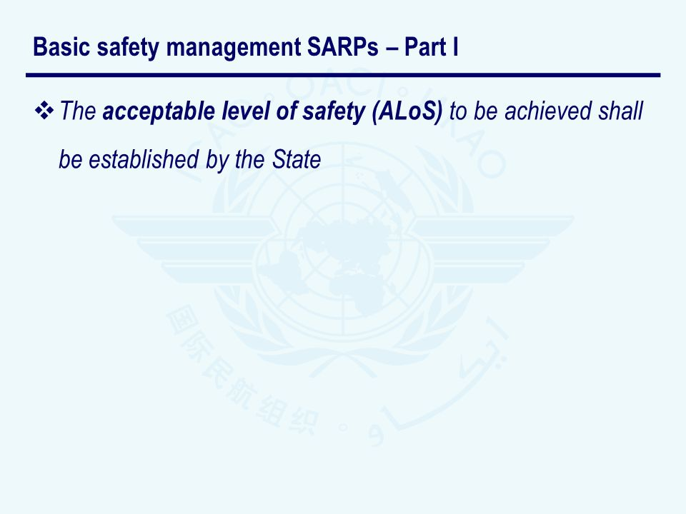 The acceptable level of safety (ALoS) to be achieved shall be established by the State Basic safety management SARPs – Part I