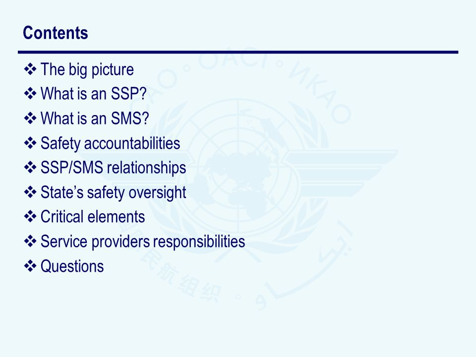 The big picture What is an SSP? What is an SMS? Safety accountabilities SSP/SMS relationships States safety oversight Critical elements Service provid