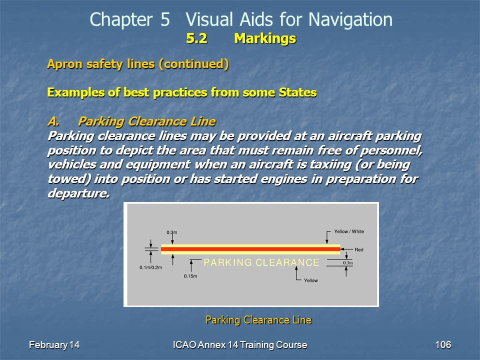 February 14ICAO Annex 14 Training Course106 5.2Markings Chapter 5Visual Aids for Navigation 5.2Markings Apron safety lines (continued) Examples of bes