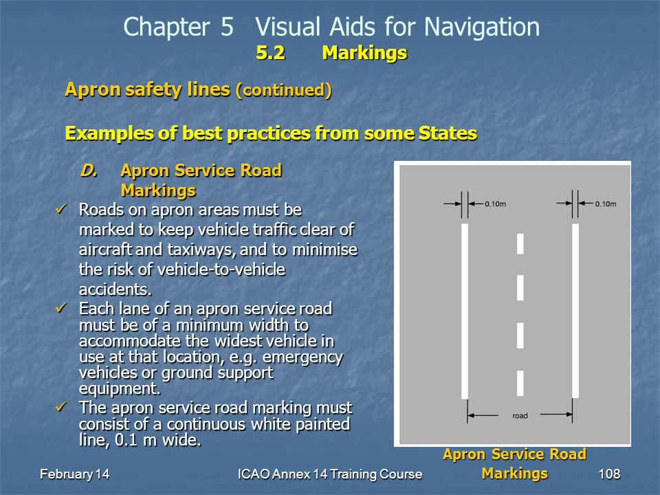 February 14ICAO Annex 14 Training Course108 5.2Markings Chapter 5Visual Aids for Navigation 5.2Markings Apron safety lines (continued) Examples of bes