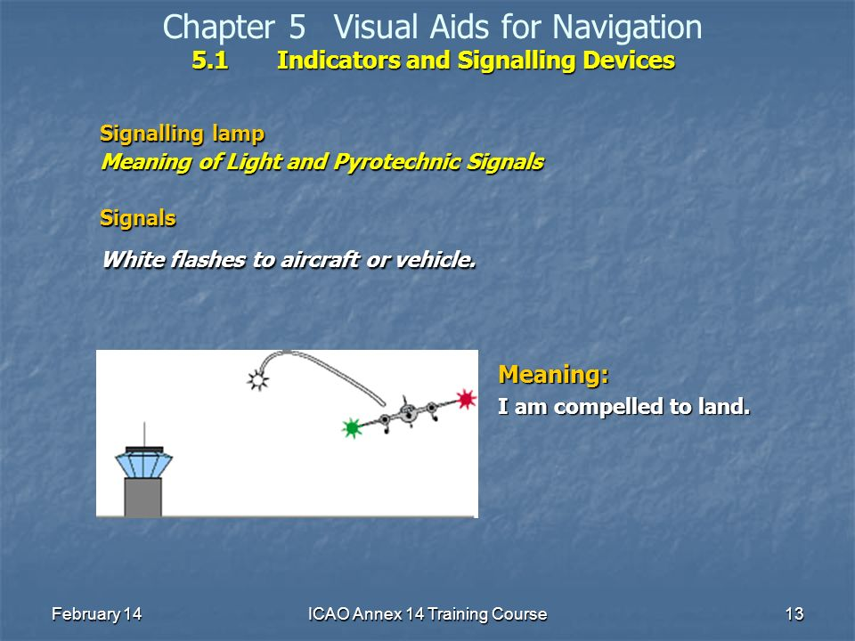 February 14ICAO Annex 14 Training Course13 5.1Indicators and Signalling Devices Chapter 5Visual Aids for Navigation 5.1Indicators and Signalling Devic