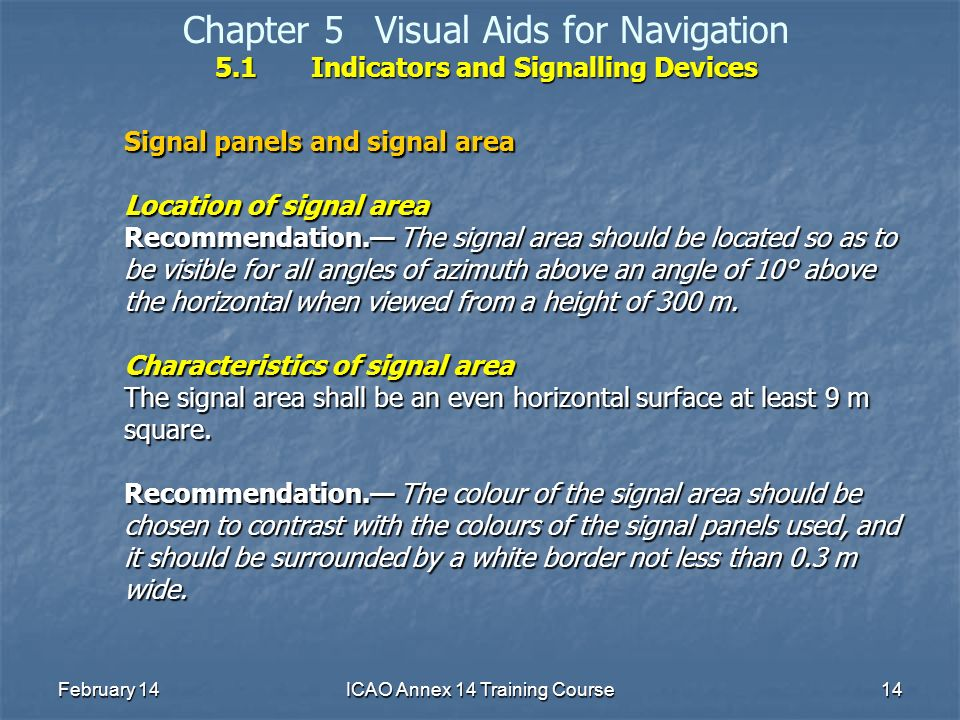 February 14ICAO Annex 14 Training Course14 5.1Indicators and Signalling Devices Chapter 5Visual Aids for Navigation 5.1Indicators and Signalling Devic