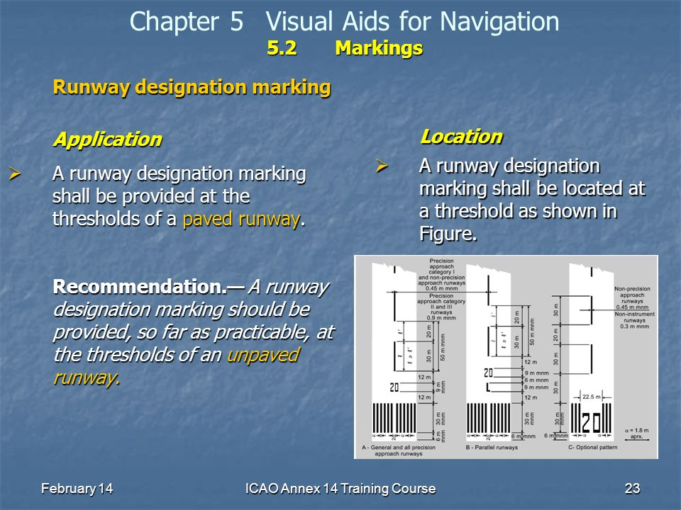 February 14ICAO Annex 14 Training Course23 5.2Markings Chapter 5Visual Aids for Navigation 5.2Markings Runway designation marking Application A runway