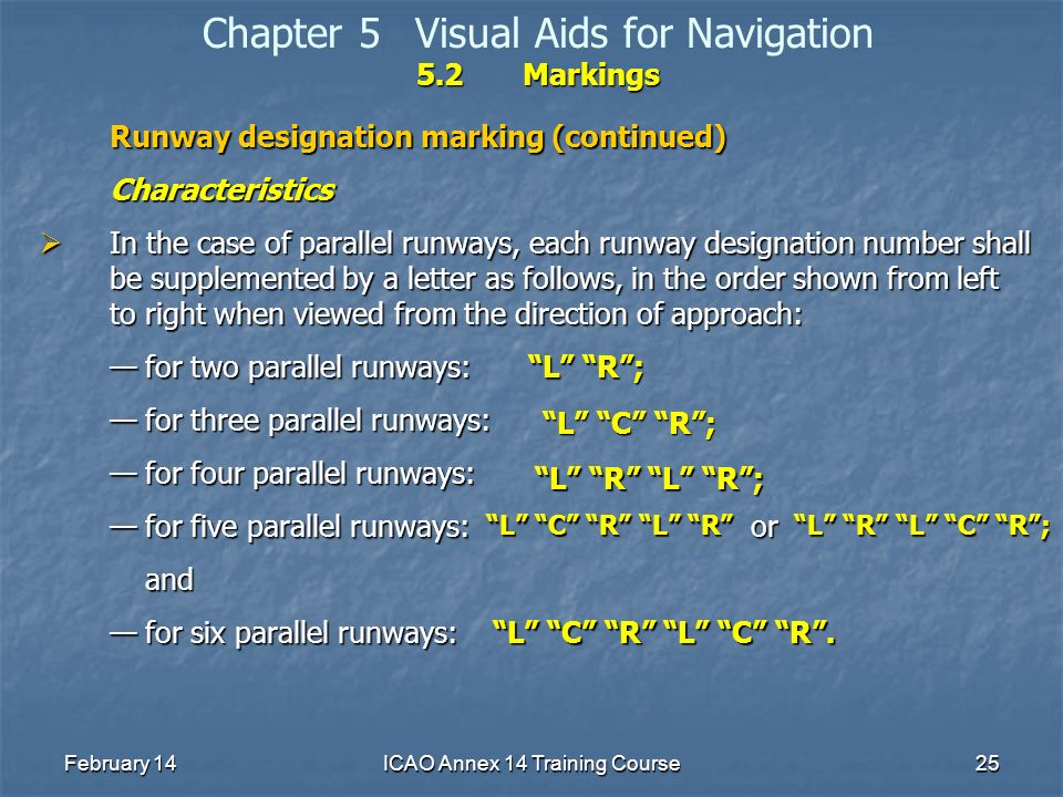 February 14ICAO Annex 14 Training Course25 5.2Markings Chapter 5Visual Aids for Navigation 5.2Markings Runway designation marking (continued) Characte