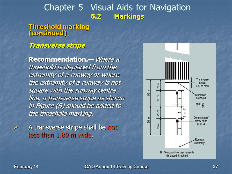 February 14ICAO Annex 14 Training Course37 5.2Markings Chapter 5Visual Aids for Navigation 5.2Markings Threshold marking (continued) Transverse stripe