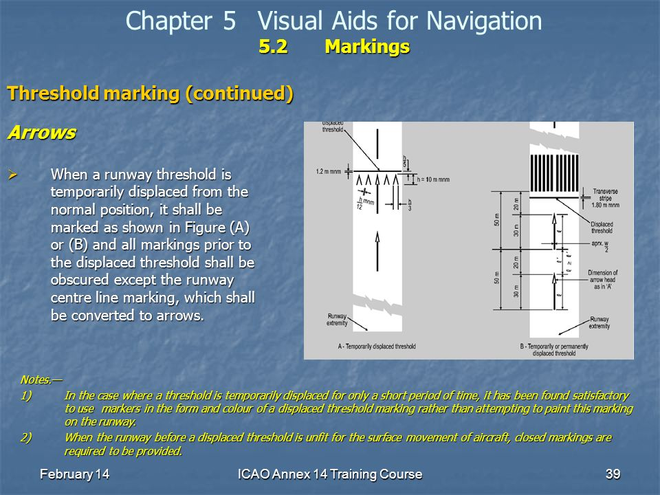 February 14ICAO Annex 14 Training Course39 5.2Markings Chapter 5Visual Aids for Navigation 5.2Markings Threshold marking (continued) Arrows When a run
