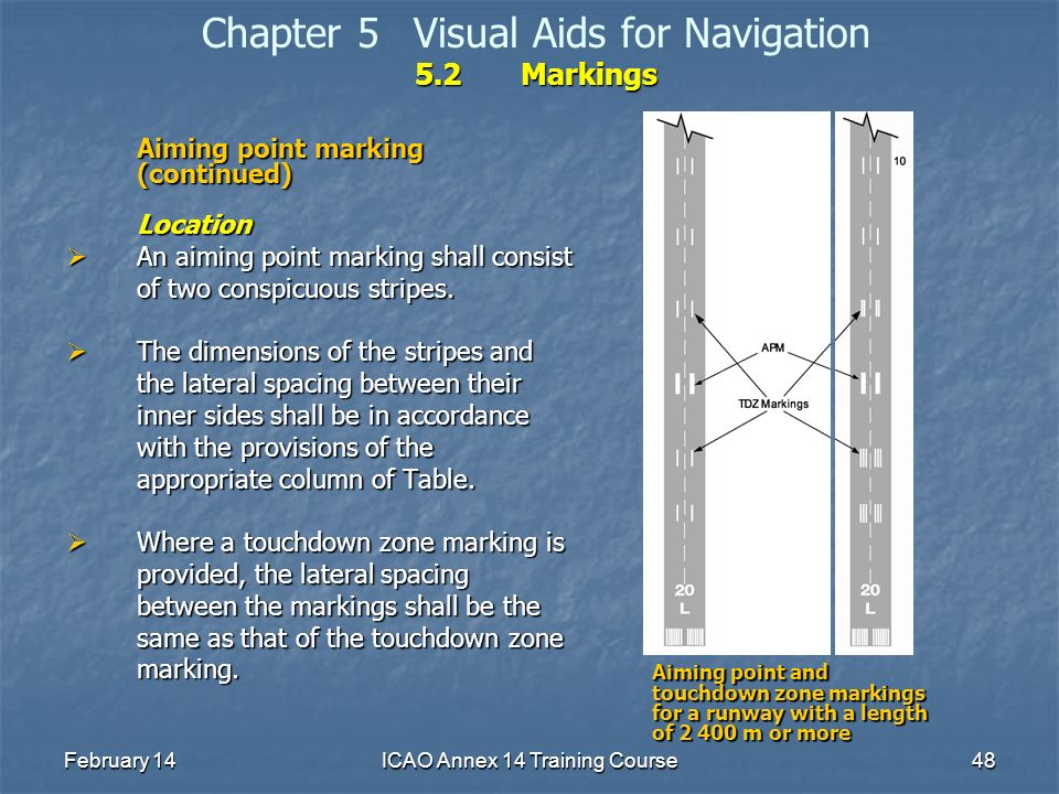 February 14ICAO Annex 14 Training Course48 5.2Markings Chapter 5Visual Aids for Navigation 5.2Markings Aiming point marking (continued) Location An ai