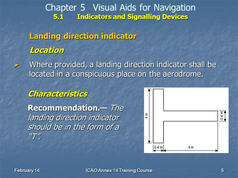 February 14ICAO Annex 14 Training Course5 5.1Indicators and Signalling Devices Chapter 5Visual Aids for Navigation 5.1Indicators and Signalling Device