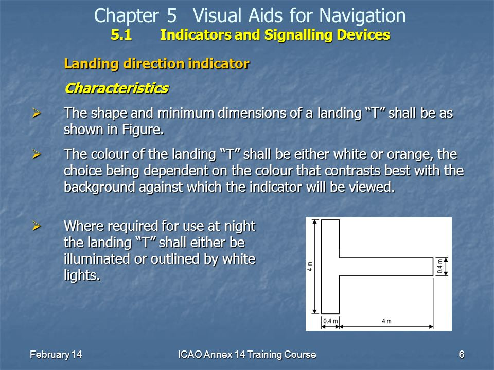 February 14ICAO Annex 14 Training Course6 5.1Indicators and Signalling Devices Chapter 5Visual Aids for Navigation 5.1Indicators and Signalling Device