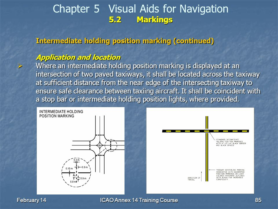 February 14ICAO Annex 14 Training Course85 5.2Markings Chapter 5Visual Aids for Navigation 5.2Markings Intermediate holding position marking (continue