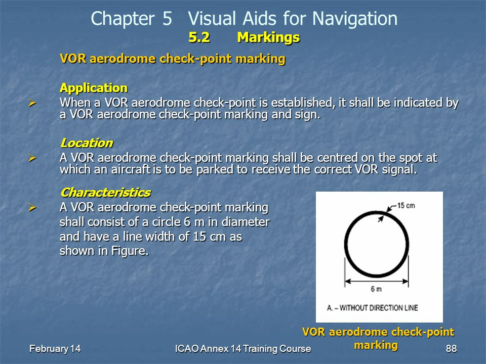 February 14ICAO Annex 14 Training Course88 5.2Markings Chapter 5Visual Aids for Navigation 5.2Markings VOR aerodrome check-point marking Application W