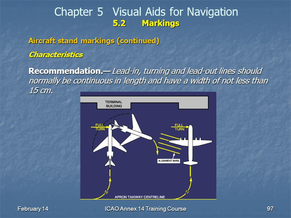 February 14ICAO Annex 14 Training Course97 5.2Markings Chapter 5Visual Aids for Navigation 5.2Markings Aircraft stand markings (continued) Characteris