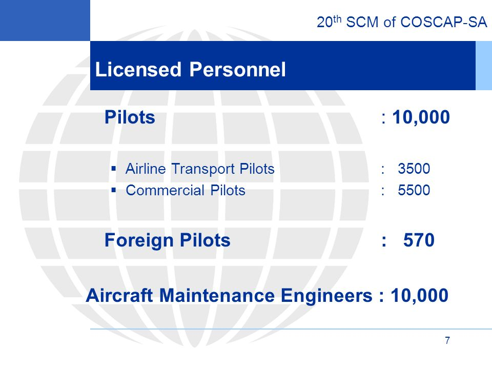 20 th SCM of COSCAP-SA 7 Licensed Personnel Pilots : 10,000 Airline Transport Pilots : 3500 Commercial Pilots : 5500 Foreign Pilots : 570 Aircraft Maintenance Engineers : 10,000
