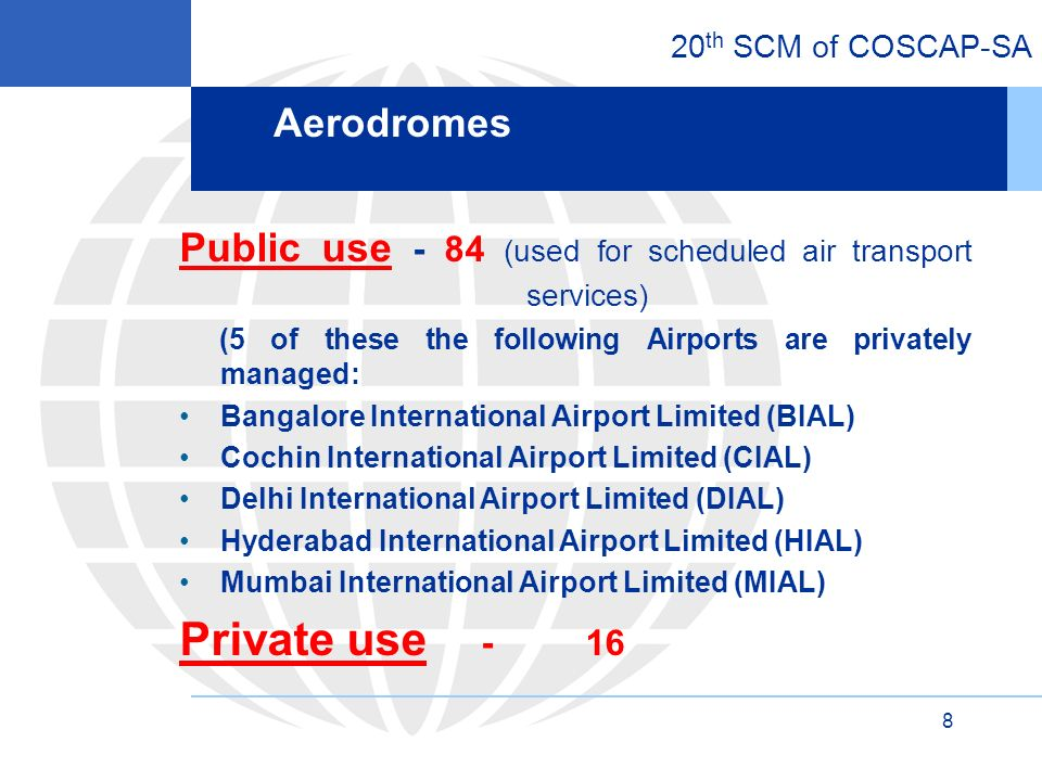 20 th SCM of COSCAP-SA 9 Growth in domestic passenger traffic - 18% (2010) Growth in Civil Aviation Industry