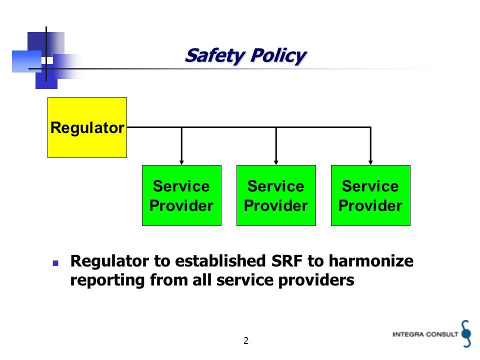 2 Safety Policy Regulator Service Provider Service Provider Service Provider Regulator to established SRF to harmonize reporting from all service providers