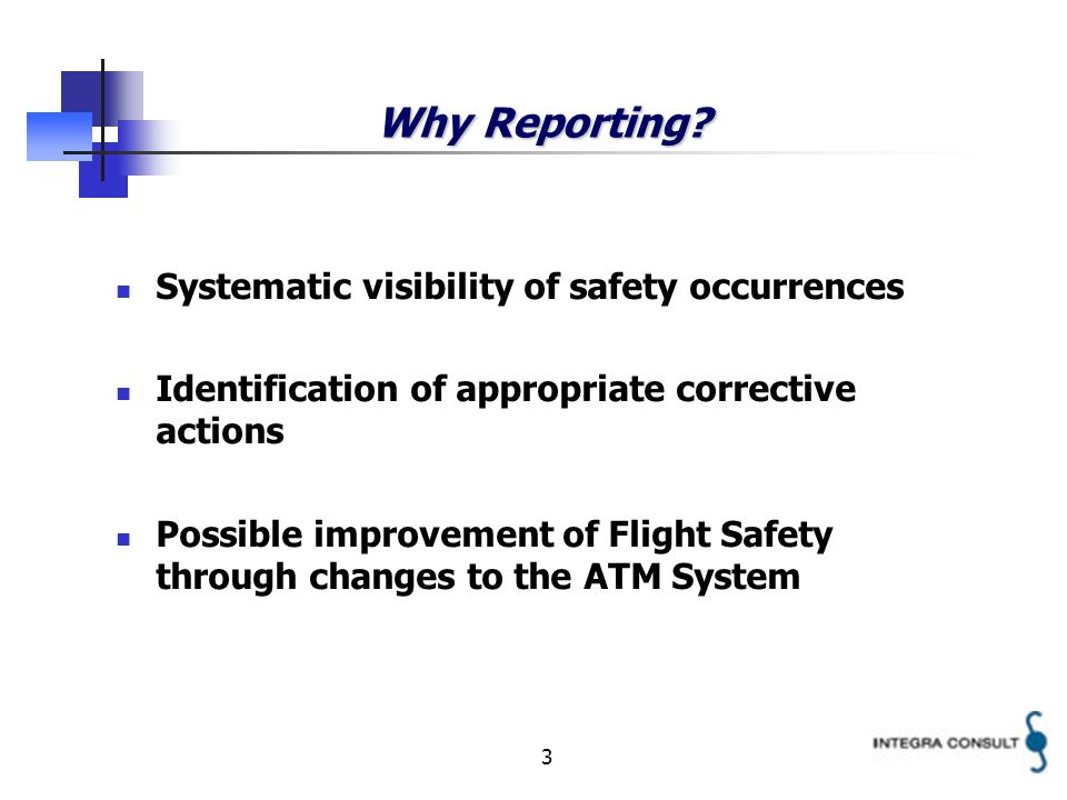 3 Why Reporting? Systematic visibility of safety occurrences Identification of appropriate corrective actions Possible improvement of Flight Safety th