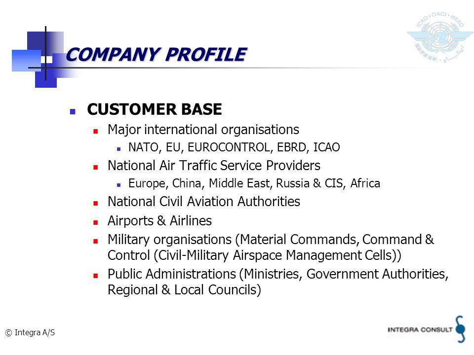 © Integra A/S COMPANY PROFILE CUSTOMER BASE Major international organisations NATO, EU, EUROCONTROL, EBRD, ICAO National Air Traffic Service Providers