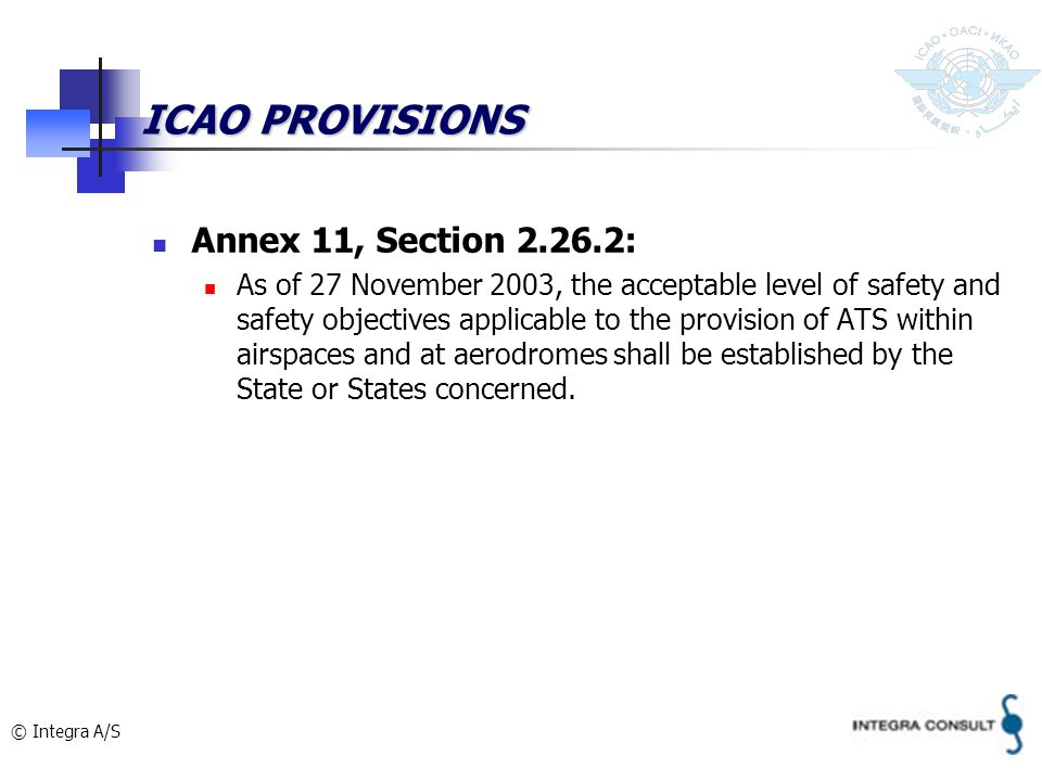 © Integra A/S ICAO PROVISIONS Annex 11, Section 2.26.2: As of 27 November 2003, the acceptable level of safety and safety objectives applicable to the