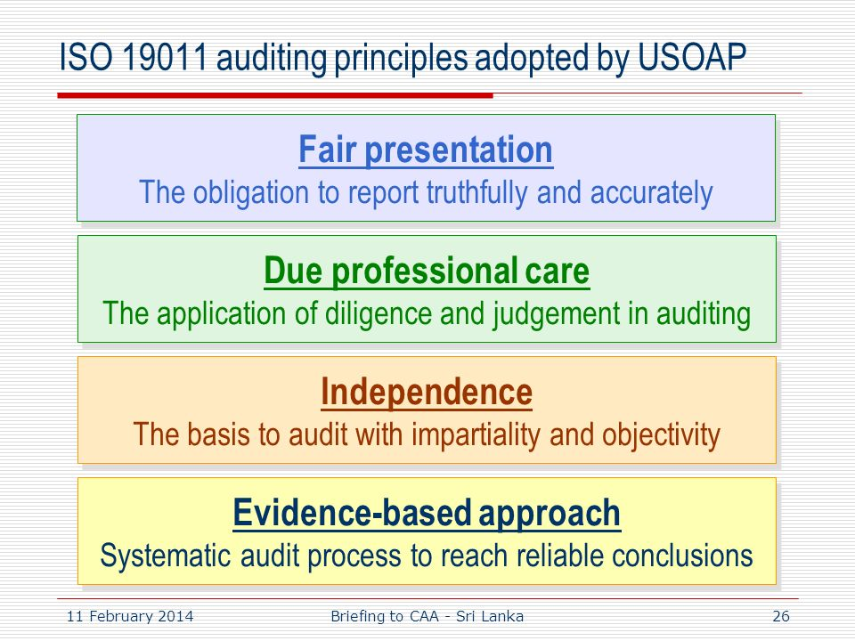 11 February 201426 ISO 19011 auditing principles adopted by USOAP Evidence-based approach Systematic audit process to reach reliable conclusions Evide