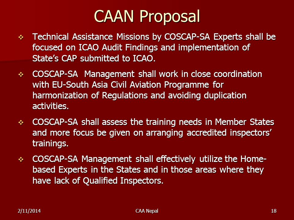 CAAN Proposal Technical Assistance Missions by COSCAP-SA Experts shall be focused on ICAO Audit Findings and implementation of States CAP submitted to