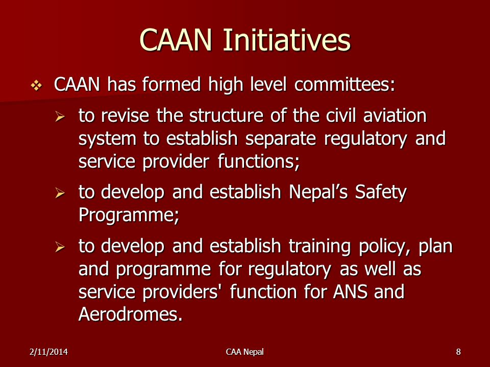 CAAN Initiatives CAAN has formed high level committees: CAAN has formed high level committees: to revise the structure of the civil aviation system to