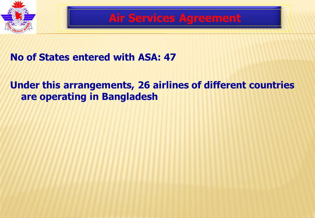 Air Services Agreement No of States entered with ASA: 47 Under this arrangements, 26 airlines of different countries are operating in Bangladesh