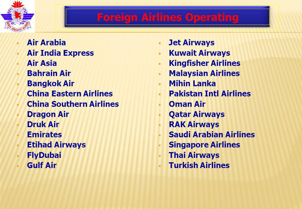 Foreign Airlines Operating Air Arabia Air India Express Air Asia Bahrain Air Bangkok Air China Eastern Airlines China Southern Airlines Dragon Air Druk Air Emirates Etihad Airways FlyDubai Gulf Air Jet Airways Kuwait Airways Kingfisher Airlines Malaysian Airlines Mihin Lanka Pakistan Intl Airlines Oman Air Qatar Airways RAK Airways Saudi Arabian Airlines Singapore Airlines Thai Airways Turkish Airlines