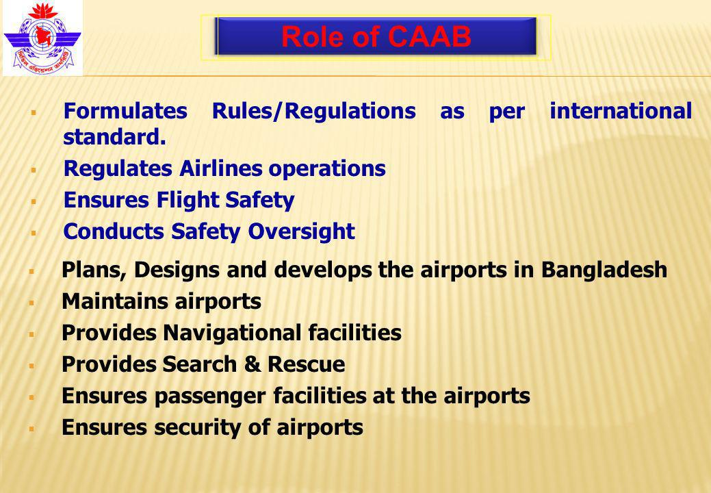 Formulates Rules/Regulations as per international standard.