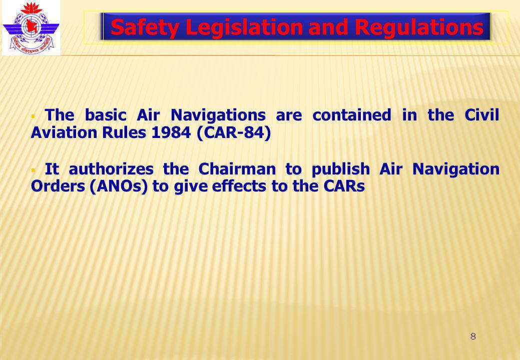 8 Safety Legislation and Regulations The basic Air Navigations are contained in the Civil Aviation Rules 1984 (CAR-84) It authorizes the Chairman to publish Air Navigation Orders (ANOs) to give effects to the CARs