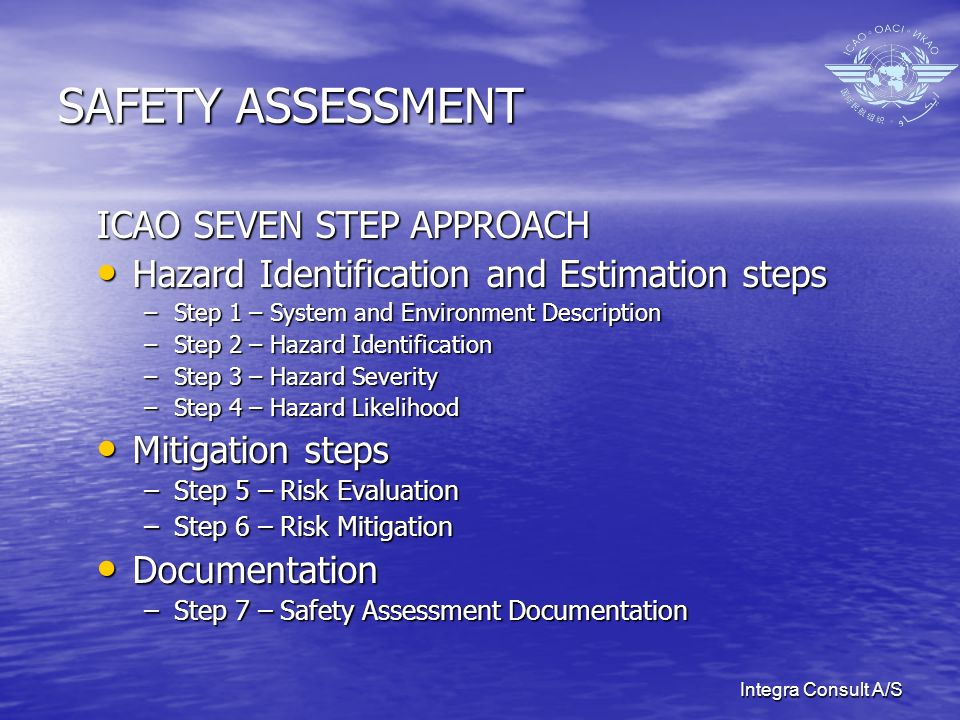 Integra Consult A/S SAFETY ASSESSMENT ICAO SEVEN STEP APPROACH Hazard Identification and Estimation steps Hazard Identification and Estimation steps –Step 1 – System and Environment Description –Step 2 – Hazard Identification –Step 3 – Hazard Severity –Step 4 – Hazard Likelihood Mitigation steps Mitigation steps –Step 5 – Risk Evaluation –Step 6 – Risk Mitigation Documentation Documentation –Step 7 – Safety Assessment Documentation