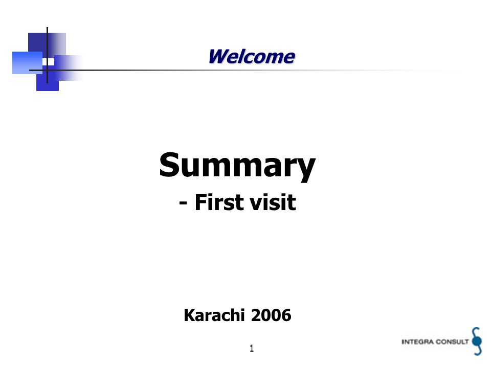 1 Welcome Summary - First visit Karachi 2006
